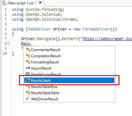 Excel table name in the code completion window