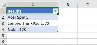 Web scraping results in an Excel table