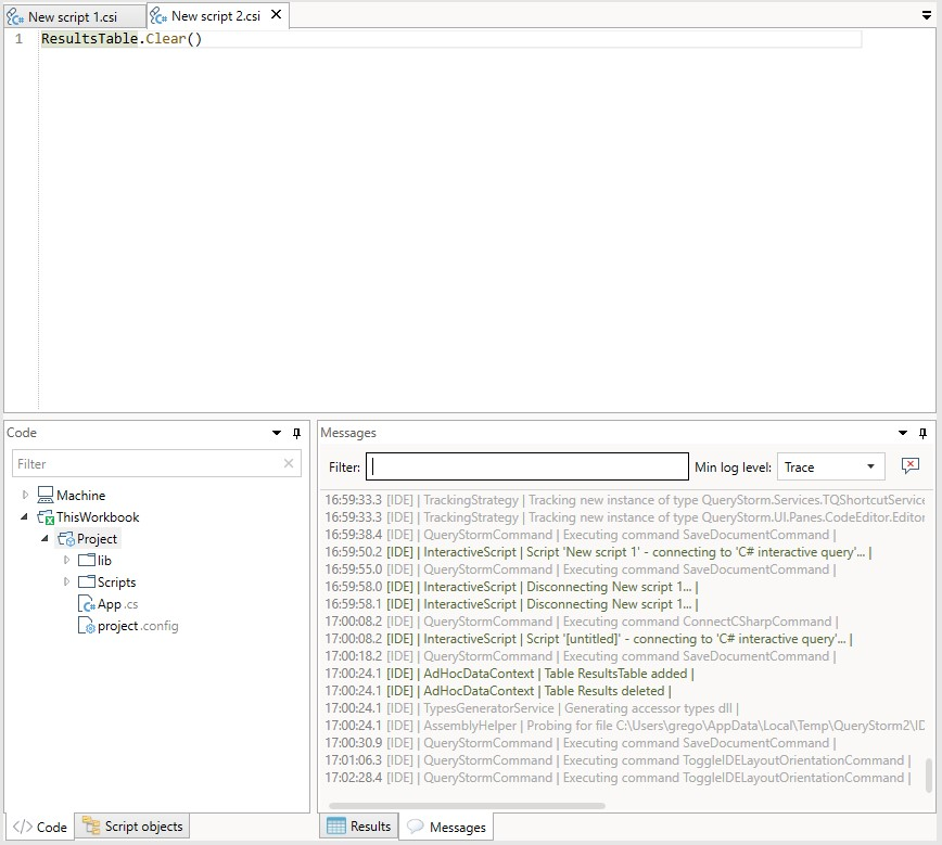 QueryStorm IDE with code to clear table.