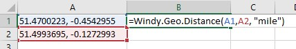Windy.Geo.Distance cell reference example.