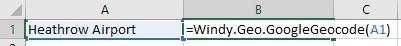 Windy.Geo.GoogleGeocode cell reference example.