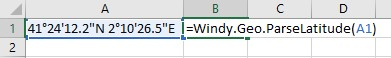 Windy.Geo.ParseLatitude cell reference example.