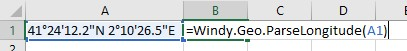 Windy.Geo.ParseLongitude cell reference example.